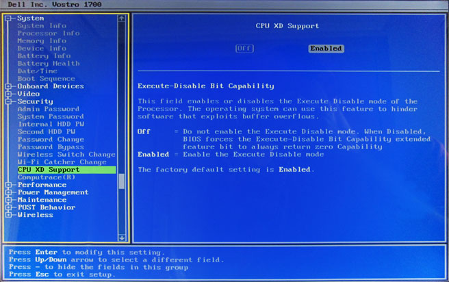 CPU XD (Execute Disable) Support