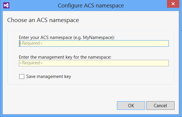 Configure ACS namespace